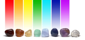 Row of chakra colored tumbled gem stones in a row on a white background with the corresponding chakra color above each stone